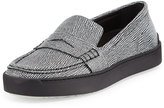 Rag & Bone Colby Textured Leather Loafer-Style Sneaker, Black/White