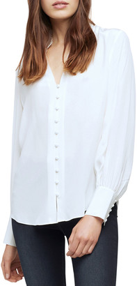 L'Agence Alicia Ruffle-Neck Silk Blouse