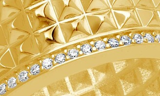 Sterling Forever Textured Spike CZ Thick Band