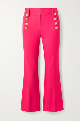 Derek Lam 10 Crosby Robertson Cropped Button-embellished Cotton-blend Flared Pants - Magenta