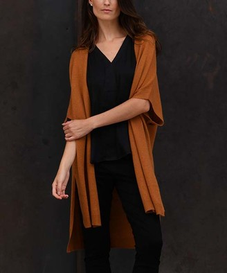 Colour Works by In Cashmere Women's Cardigans Amber - Amber Open Hi-Low Cashmere Cardigan - Women