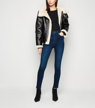 New Look NA-KD Skinny High Waist Raw Hem Jeans