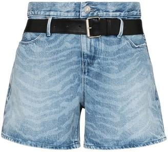 RtA Pierce belted zebra print shorts