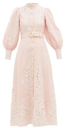 Zimmermann Freja Broderie Anglaise-linen Shirtdress - Womens - Light Pink