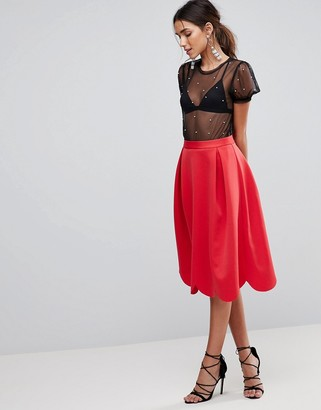 ASOS DESIGN scuba prom skirt with scallop hem