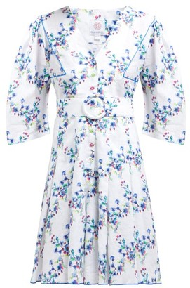 Gül Hürgel Belted Floral Print Linen Mini Dress - Womens - White Multi