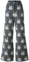 Stella McCartney swan print trousers - women - Cotton/Viscose/Virgin Wool - 42
