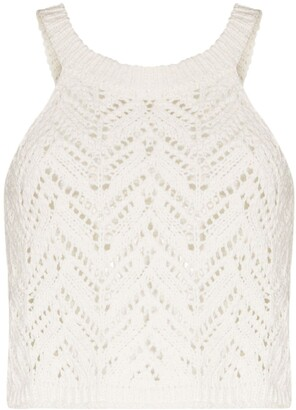Missing You Already Scoop-Neck Open-Knit Top