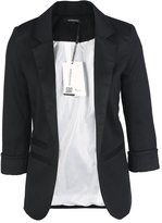 HaoDuoYi Womens Casual Work Office Boyfriend Open Front Blazer Jacket(L,)