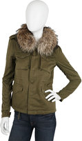 Military Jacket with Fur Trim Collar in Army Green and Black