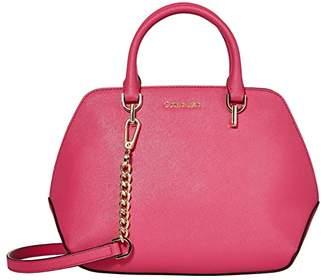 Calvin Klein Hayden Saffiano Leather Triple Compartment Satchel (Punch) Handbags