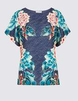 Marks and Spencer Mirror Floral Pint Short Sleeve Top