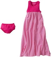Burt's Bees Baby Striped Maxi Dress & Diaper Cover (Baby)-Hibiscus-0-3 Months