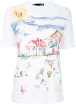 Love Moschino scribble print T-shirt - women - Cotton - 38