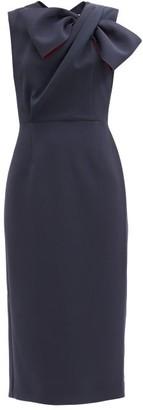 Roksanda Flandre Draped-bow Crepe Dress - Navy