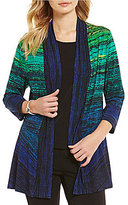 Allison Daley Horizontal Stripe Print 3/4 Sleeve Open Front Cardigan