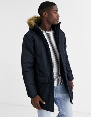 French Connection faux fur hood parka jacket-Navy