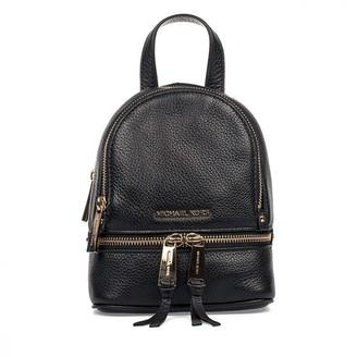 Michael Kors Rhea Black Leather Backpacks