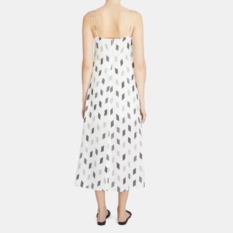Theory Double Strap Slip Dress in Brush Print Silk