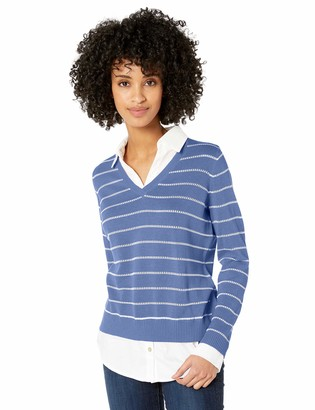 Foxcroft Women's Dana Stripe 2-fer Sweater
