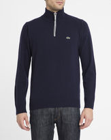 Lacoste Navy New Wool Zip Neck Sweater with Mottled-Grey Trim
