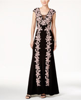Betsy & Adam Embroidered Illusion A-Line Gown