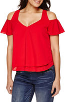 Bisou Bisou Short-Sleeve Cold-Shoulder Layered Flare Top