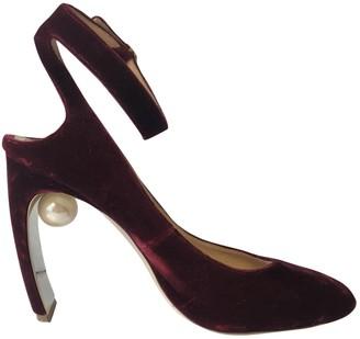 Nicholas Kirkwood Burgundy Velvet Heels