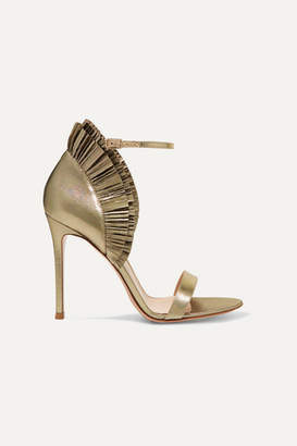 Gianvito Rossi 105 Ruffled Lame Sandals - Gold