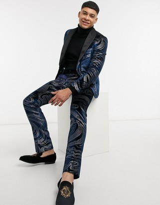 Twisted Tailor velvet suit pants with swirl design in midnight blue