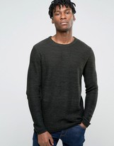 Jack & Jones Crew Neck Knitted Jumper In Yarn Dye