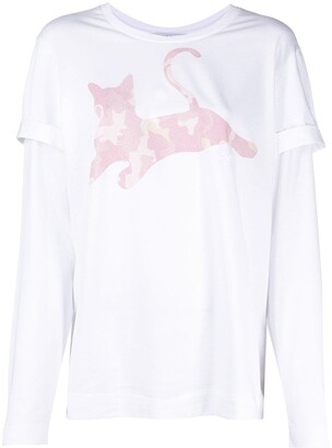 VIVETTA cat-print layered T-shirt