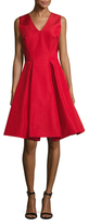 Zac Posen Silk Pleated Fit And Flare Dress