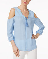 NY Collection Cold-Shoulder Tasseled Peasant Top