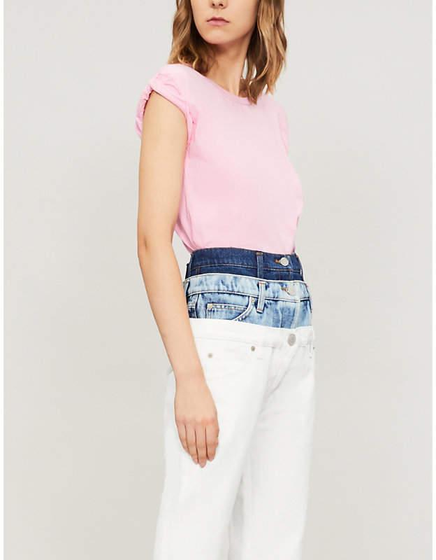 Natasha Zinko Rolled-sleeve cotton-blend T-shirt