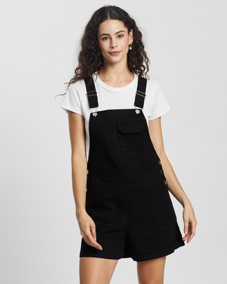 Atmos & Here Atmos&Here - Women's Black Playsuits - Bobbie Short Overalls - Size 6 at The Iconic