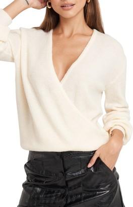 NA-KD V-Neck Surplice Faux Wrap Sweater
