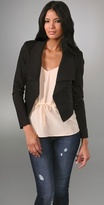 Cropped Blazer with Flounce Collar
