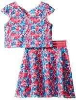 Us Angels Laser Cut Scuba Two-Piece Cap Sleeve Cross Back w/ Flare Skirt (Big Kids)