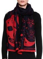 Alexander McQueen Oversize Skull Wool Scarf, Blue/Red