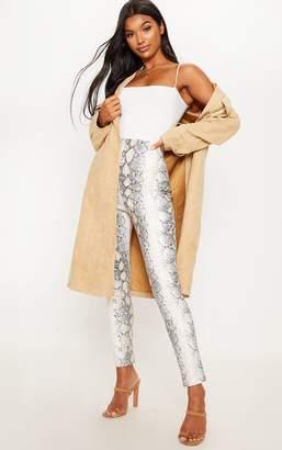 PrettyLittleThing White Snakeskin Faux Leather Skinny Trouser