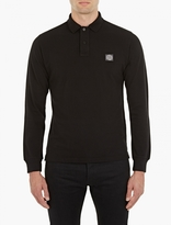 Stone Island Black Long-Sleeved Cotton Polo Shirt