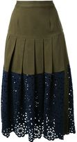 Sea lace combo skirt - women - Cotton/Spandex/Elastane - 4