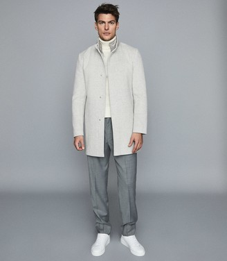 Reiss KENSAL OVERCOAT WITH REMOVABLE INSERT Grey