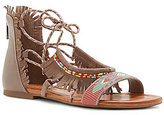 Jessica Simpson Kyndalle Beaded Lace-Up Fringe Flat Leather Sandals