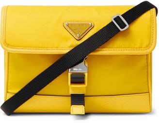 Prada East To West Saffiano Leather-Trimmed Nylon Messenger Bag