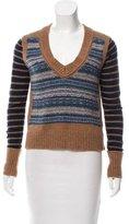 Tory Burch Striped V-Neck Sweater