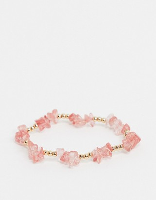 Topshop beaded bangle in pink