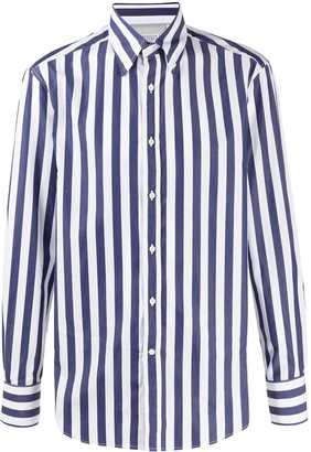Brunello Cucinelli Button-Down Collar Striped Shirt