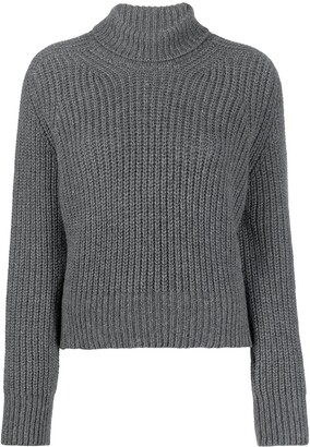 AMI Paris Funnel Neck Ribbed Jumper